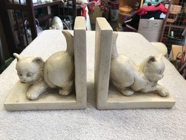 Book Ends White Cat Theme Handmade Hand painted Unique Set Of Two - $56.55
