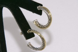 David Yurman Classic Cable Solid 18kt Gold and Silver Hoop Earrings  - $465.99