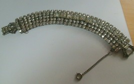 Vintage Signed WEISS Clear Rhinestone Bracelet W/Safety Chain - $85.00