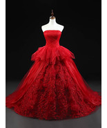 Strapless Ball Gown Tulle Prom Dress Floor Length Women Party Dresses - $252.00