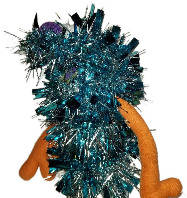 """C11 * Deluxe Custom """"Sparkly Light Blue Monster"""" Sock Puppet * Custom Made"""