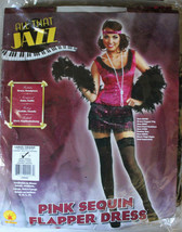 All That Jazz Pink Sequin Flapper Dress Women's Halloween Costume Size L... - $19.35