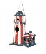 Garden Bird House Lighthouse Red White Blue Decoration Patriotic Patio B... - $33.31