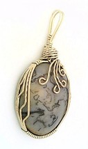 Squiggly Jasper Nickel Silver Wire Wrap Pendant 35 - $27.90