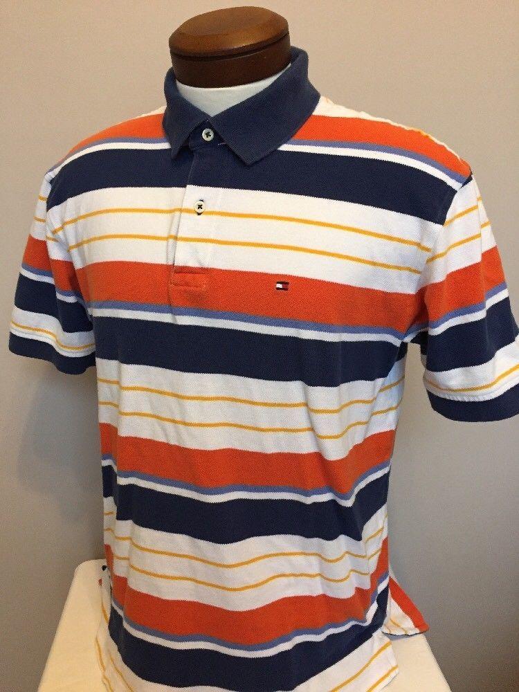 0bdd2075 Men's Tommy Hilfiger Polo Shirt L Orange Blue Stripe Short Sleeve Preppy  (EE15)
