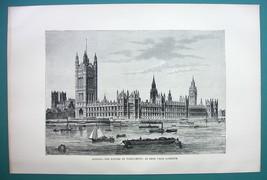 ENGLAND London Parliament Thames River - 1890s Antique Print - $10.71