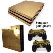 PS4 PRO Gold Glossy Console & 2 Controllers Decal Vinyl Cover Skin Wrap - $14.25