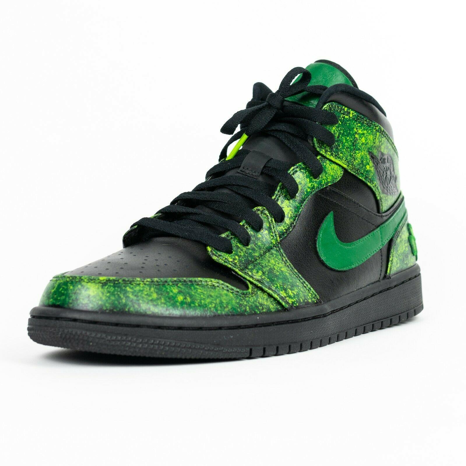 Jordan 1 Mid Black Mens Custom 'Irish' Shoes All Sizes 4 ...