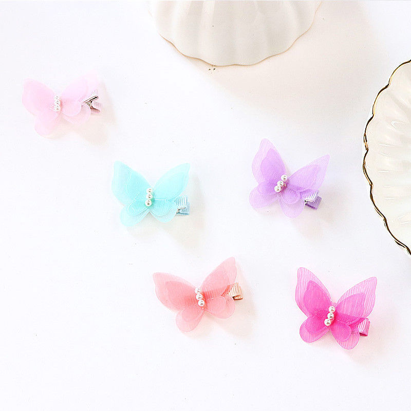 PjNewesting® 1PC Little Girl Barrettes Cute Colorful Butterfly Pearl Hair Clip