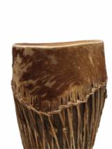 "Vintage HANDMADE Large Native American Cow Hide Wood Drum Almost 19"" High image 2"