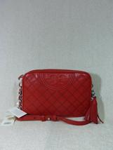 NWT Tory Burch Cherry Apple Distressed Leather Fleming Camera Crossbody Bag - $413.83