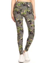 5-inch Long Yoga Style Banded Lined Floral Printed Knit Legging With Hig... - $12.50