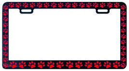 BLACK PAW PRINTS CRITTER DOG PET CAT RED License Plate Frame - £4.31 GBP