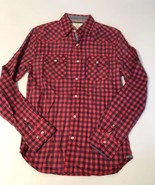 New $60 Men's Flag & Anthem Red Black Plaid Button Down Casual Western S... - $43.54