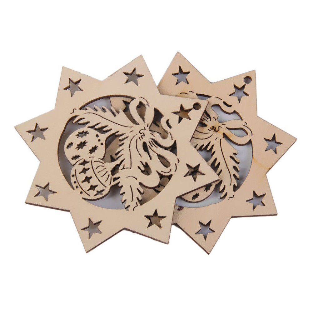 Christmas Tree Wooden Hanging Decoration Ornament Decor Xmas Gift Home Ornaments