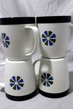 Vintage MCM Therm Ware Daisy Mugs Cups 4 Pcs David Douglas Made In USA 1... - $19.32