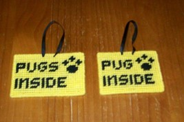Brand New Handmade Needlepoint Pet Emergency Sign PUG PUGS 4 Dog Rescue ... - $8.39
