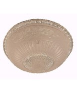 """Art Deco Glass 14"""" Beige Floral Ceiling Light Shade 3 Hole Bead Chain 19... - $34.95"""