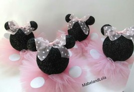 Black Glitter Minnie Mouse Set 5 Centerpieces 1st Birthday Baby Shower P... - $60.78