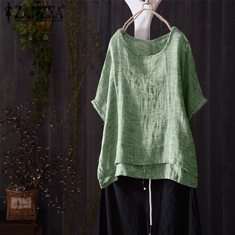 018 zanzea women o neck short batwing sleeve summer blouse casual solid shirt cotton linen loose