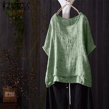 A women o neck short batwing sleeve summer blouse casual solid shirt cotton linen loose thumb200