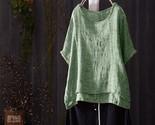En o neck short batwing sleeve summer blouse casual solid shirt cotton linen loose thumb155 crop
