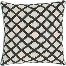 "Diva At Home 18"" Blue Ice, Midnight Black and Cream Woven Decorative Thr... - $63.85"
