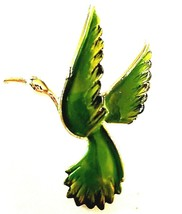 Vintage Gold Tone  GERRY'S  GREEN CRANE  BROOCH signed - $17.99