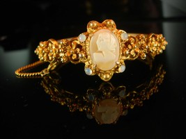 Victorian Baroque Bracelet - Cameo Bangle - Vintage Florenza - genuine c... - $175.00