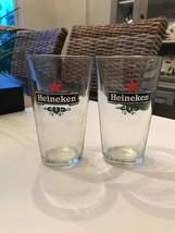(2) Vintage Heineken Lager Glasses Pub Cups - $19.79