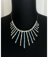 Gold Tone & Turquoise Color Beaded Bib Adjustable Necklace - $14.84