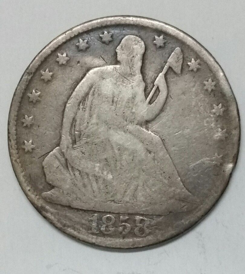 1858O Seated Liberty Half Dollar 50¢ Silver Coin Lot E 60