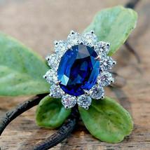 3.00 Ct Oval Cut Sapphire Diamond Halo Engagement Ring 14k White Gold Fi... - $96.57