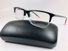 New NIKE 7252 017 Black & Clear Eyeglasses 55mm with NIKE Case - $79.15