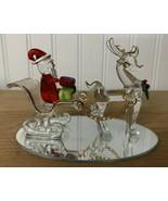 Handmade Blown Glass Santa & Reindeer Art Glass Firgurine Mirror Base Ch... - $51.07