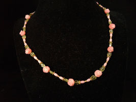 Beaded Necklace, Pink Coral, Peridot, Roses, Handmade, #z461 - $50.00