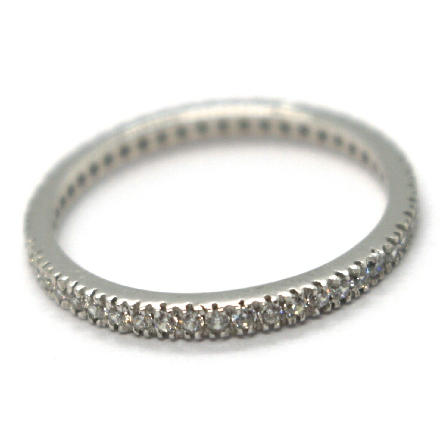 White Gold Ring 750 18K, Eternity, 4 Tips, Thickness 2 mm, Zircon Cubic