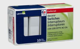 New!! Leviton Single Pole Metal Rocker Decora Switch 15 Amp 120V 10 Pk 05601-2WM - $27.99