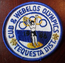 BOY SCOUTS BSA CUB & WEBELO OLYMPICS TEQUESTA DISTRICT 1986 3 INCH PATCH... - $3.00