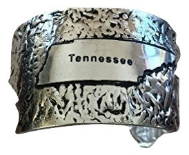USA State Antiqued Silver Hammered cuff bracelet (Tennessee)