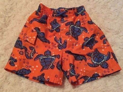 8ebfd7954c 12. 12. Previous. Osh Kosh Boys Orange Blue Sea Turtle Swim Trunks Shorts  Bottoms 18 Months