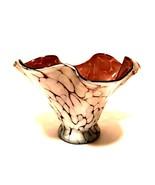 Art Glass Spatter Bowl Free Form Ruffled Edge Splatter Vase Purple 5 inches - $56.42
