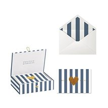 C.R. Gibson White and Blue Greeting Card Set with Gift Box, 20pc, 5'' W x 3.5''