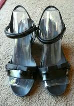 Prada 37 black wedge shoes sandals shiny designer - $148.49