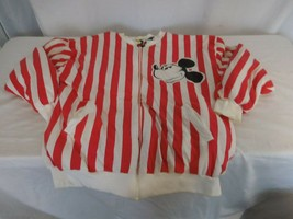 Walt Disney Mickey Mouse Candy Stripe Reversible Zip Up Bomber Jacket Vi... - $153.47