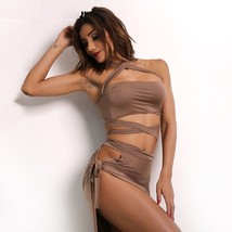 Two Piece Split Dress Party Elegant Cloth Bandage Hollow Out Sheath Ankl... - $21.99