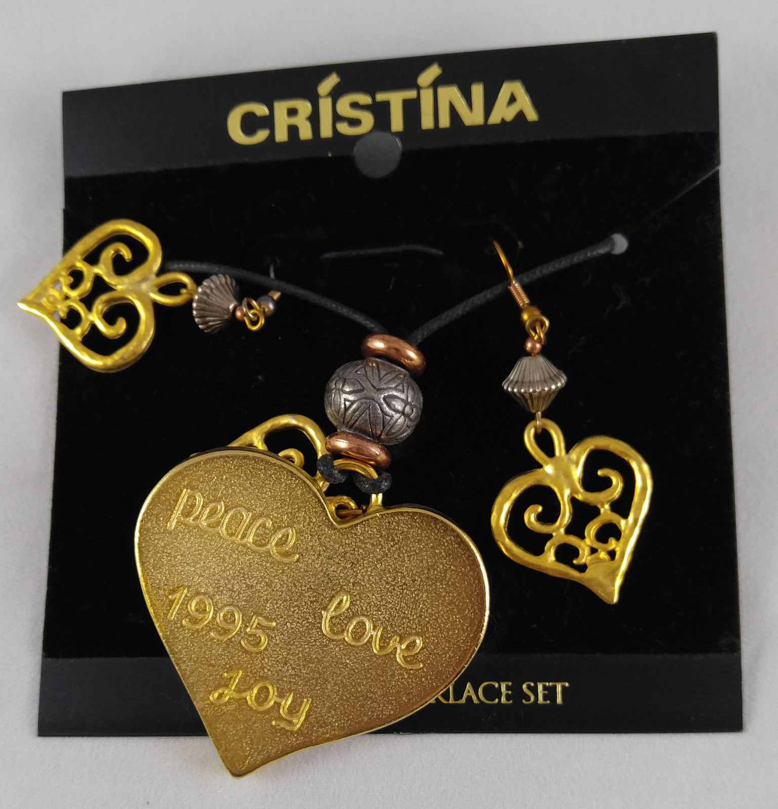 Vintage 1995 Cristina Designed Earrings Necklace Brooch Pin Gold & Resin Hearts