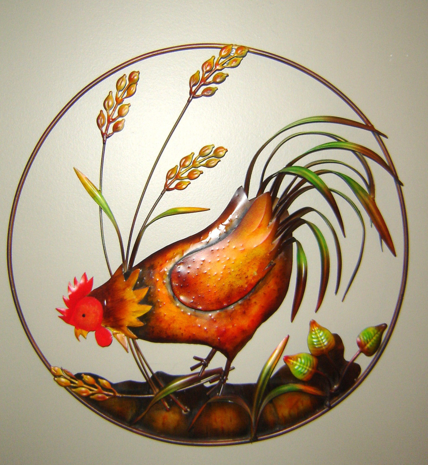 Country Rooster with Head Down Metal Wall Decor Plaque NEW