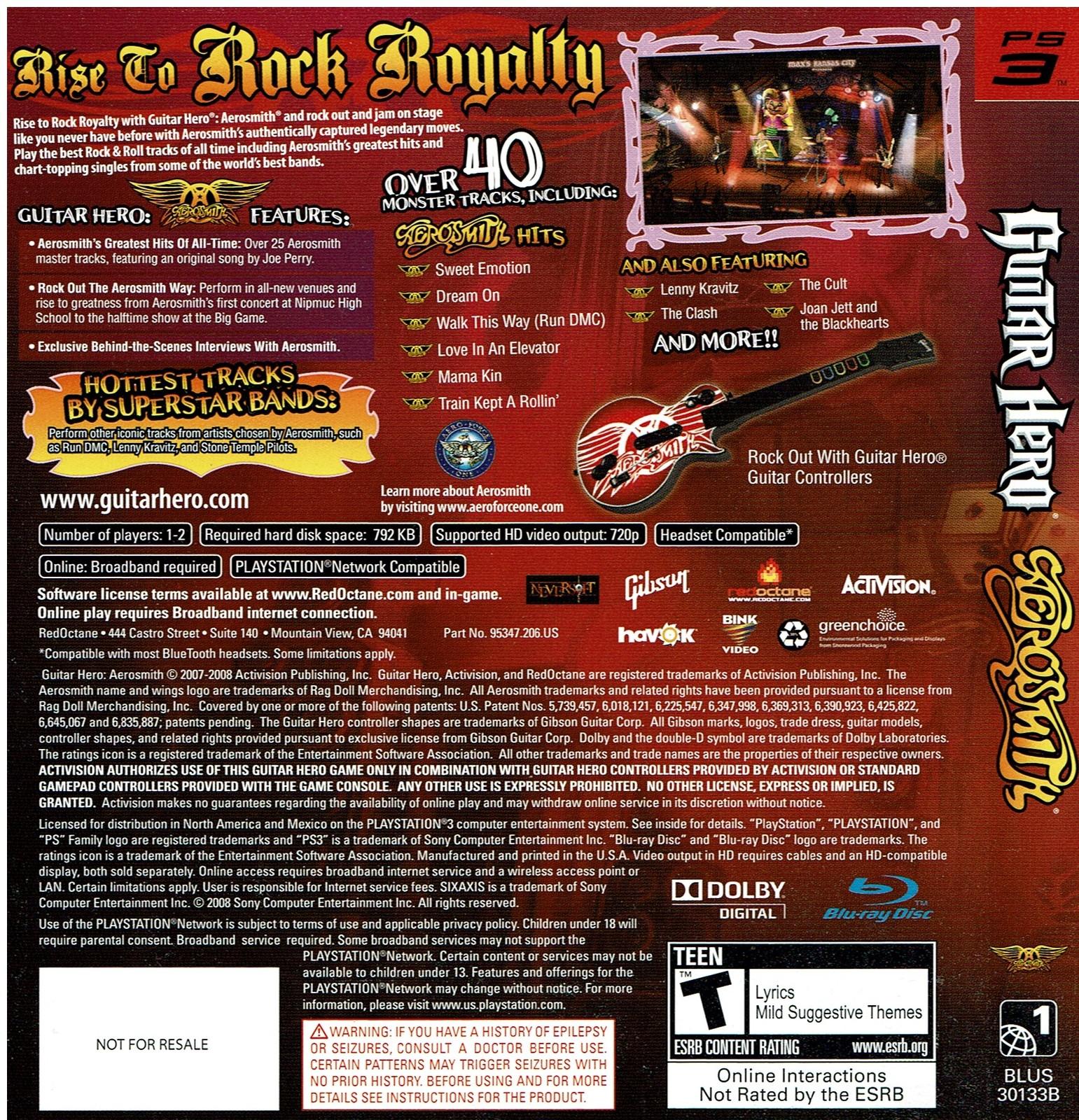 Guitar Hero Aerosmith, Playstation 3, PS3, (BLUS-30133B)(0047875953352)