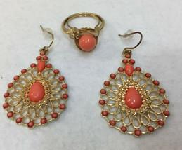 Tear Drop Dangle Earrings Gold Tone Filigree Coral Beads w/ Avon Ring Lot 2 - $19.75